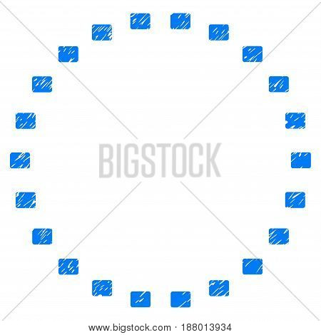 Grunge Dotted Circle icon with grunge design and dirty texture. Unclean vector blue pictogram for rubber seal stamp imitations and watermarks. Draft sign symbol.