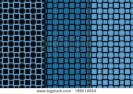 Geometric seamless pattern. Black and blue abstract background with square elements. Vector illustration
