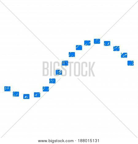Grunge Dotted Function Line icon with grunge design and dirty texture. Unclean vector blue pictogram for rubber seal stamp imitations and watermarks. Draft sign symbol.