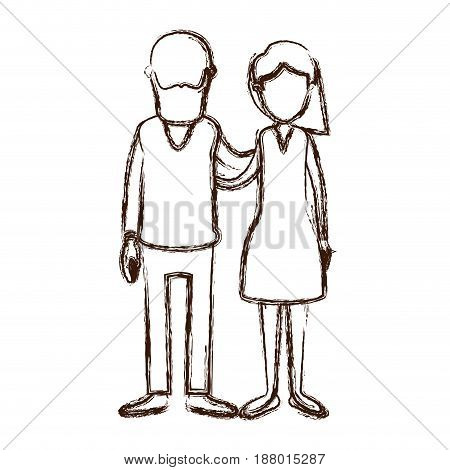 blurred thick silhouette caricature faceless full body woman with side short hairstyle and bearded man embracing couple vector illustration
