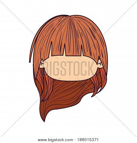 colorful caricature faceless front view cute girl with long hairstyle vector illustration