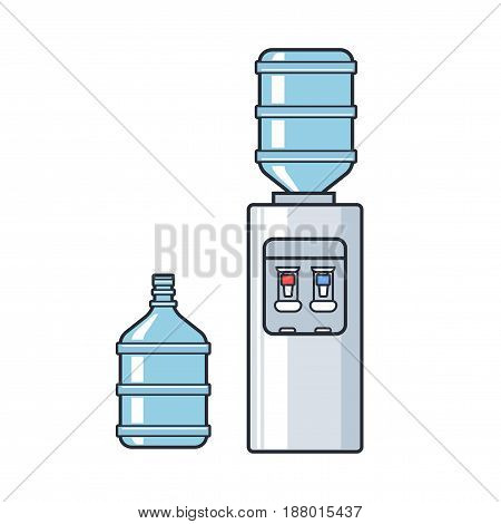 Line vector plastic water cooler with blue full bottle. Flat illustration on white background.