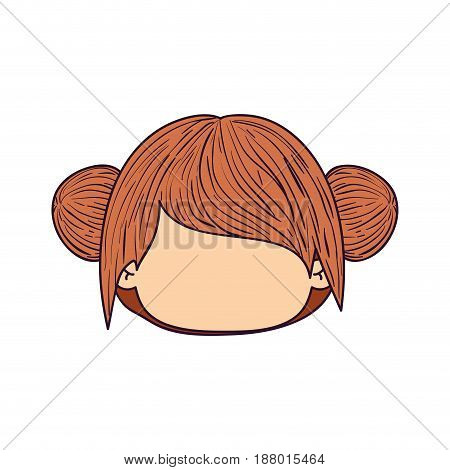 colorful caricature faceless front view cute girl with double collected hairstyle vector illustration