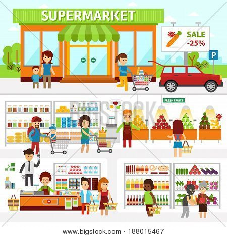 Supermarket infographic elements. Flat vector design illustration. People choose products in the shop and buy goods. Man and woman standing at the checkout in a store