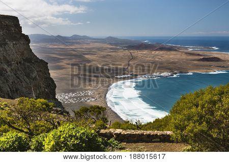 Famara Bay View In Lanzarote, Spain