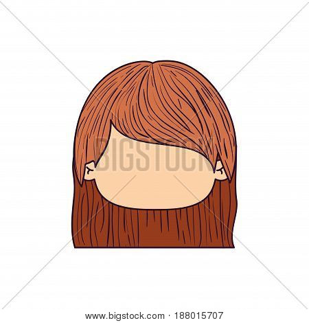colorful caricature faceless front view cute girl with short straight hairstyle vector illustration
