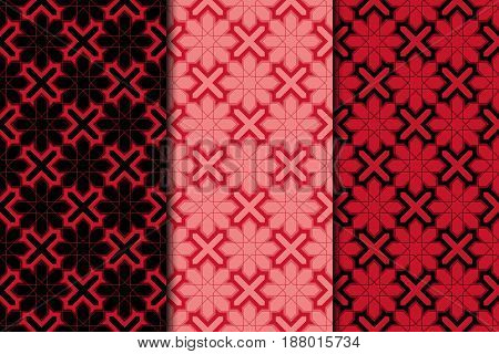 Arabic seamless patterns. Black and red ornaments for textile and fabric. Vector illustration
