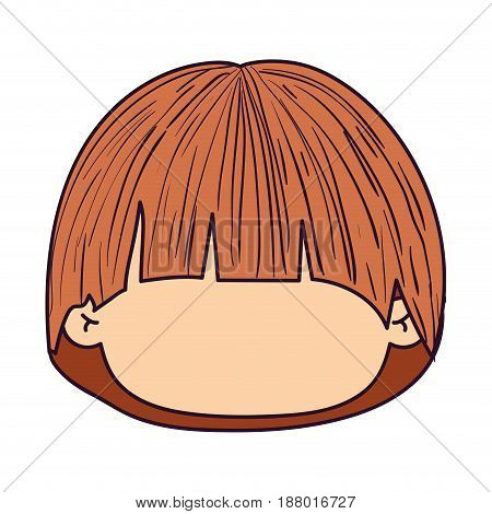 colorful caricature faceless front view cute boy with long straight hair vector illustration
