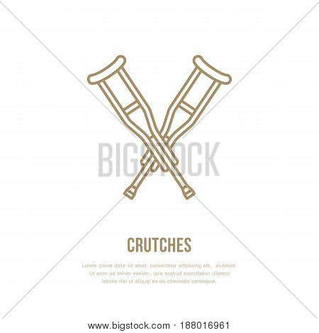 Crutches line icon. Vector logo for rehabilitation equipment store.