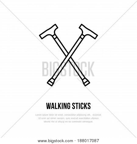 Walking sticks line icon. Vector logo for rehabilitation equipment store.