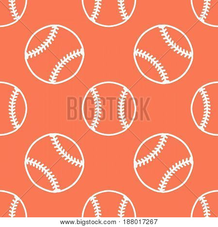 Baseball, softball sport game vector seamless pattern, orange background with line icons of balls. Linear signs for championship, equipment store.