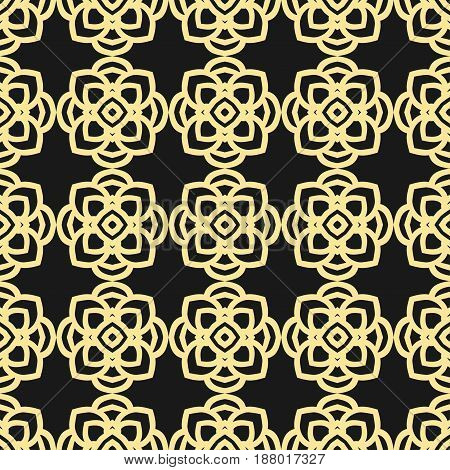Seamless Floral Geometrical Wallpaper. Black And Golden, Orange, Yellow Pattern, Vector. Template Fo