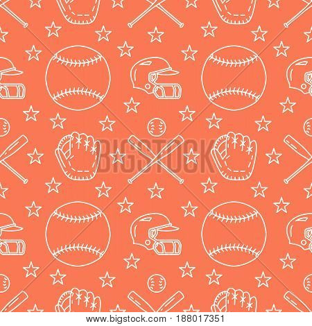 Baseball, softball sport game vector seamless pattern, orange background with line icons of balls, player, gloves, bat, helmet. Flat signs for championship, equipment store.
