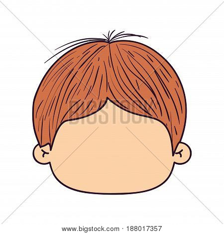 colorful caricature faceless front view guy with hairstyle vector illustration