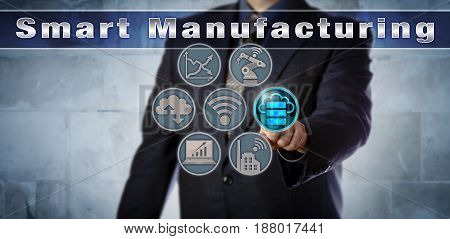 Blue chip manufacturer activating cloud storage in a Smart Manufacturing control interface. Industry and technology concept for increased flexibility integration and data storage in industry 4.0.