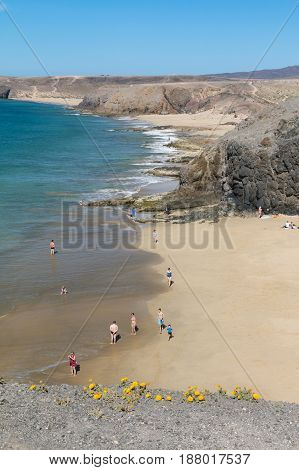 Tourists At Beach In Lanzarote, Spain, Editorial