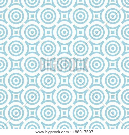 Geometric seamless pattern. Blue and white background with circle elements. Vector illustration