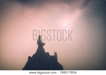 Man On The Top Of A Mountain. Instagram Stylization