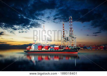 ship in dock import export goods .