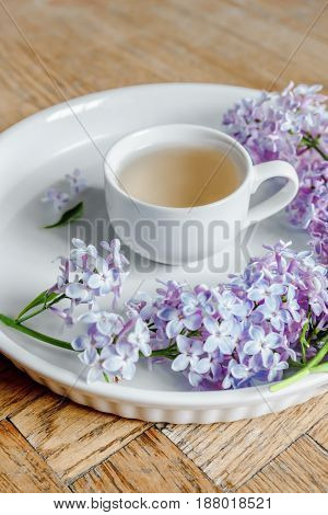 Lilac Flower Bouquet, Wood Desk, White Background, Morning