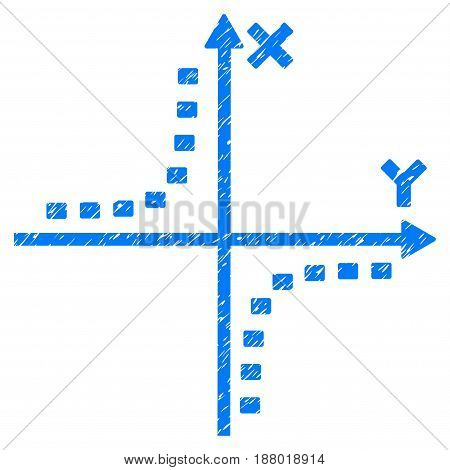 Grunge Dotted Hyperbola Plot icon with grunge design and dirty texture. Unclean vector blue pictogram for rubber seal stamp imitations and watermarks. Draft sticker symbol.