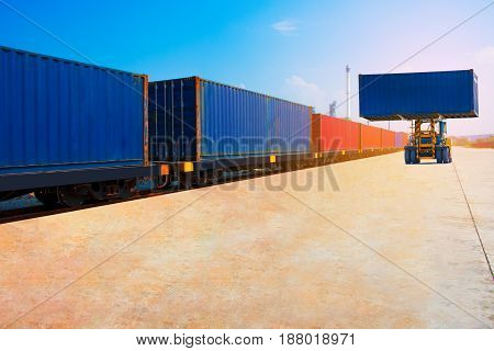 container with train import export goods to custom .