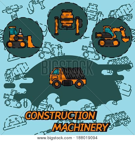 Construction machinery flat concept icons. Heavy machine concrete mixer, loader and crawler crane. Vector illustration