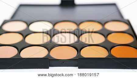 Concealers closeup.Set of decorative cosmetics for makeup for contouring the face.