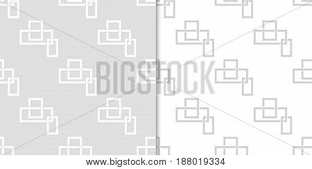 Geometric seamless pattern. Gray abstract background with square elements. Vector illustration
