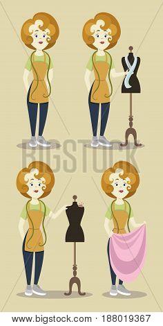 Tailor or dressmaker designer atelier women in dress tailoring salon