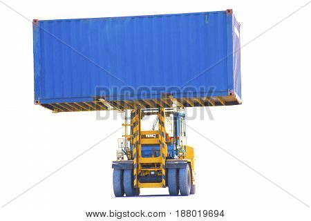 forklift on white background import export .