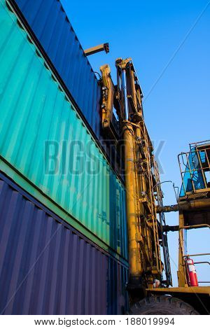 truck with container loading box import export goods to custom .