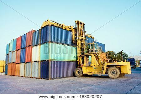container with forklift loading import export goods.