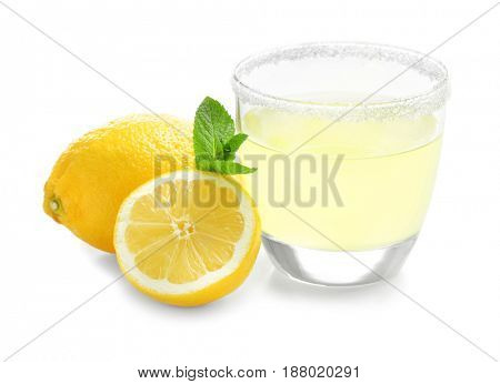 Delicious lemon juice in glass on white background
