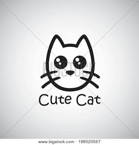 Cat Cute Logo. Black Isolated Vector Illustration