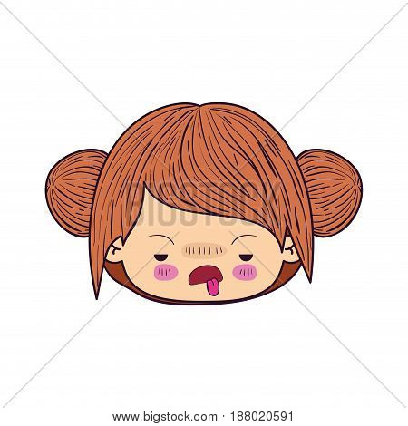 colorful caricature kawaii face little girl with double collected hair and facial expression of disgust vector illustration