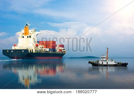 ship with international container import export goods to custom.
