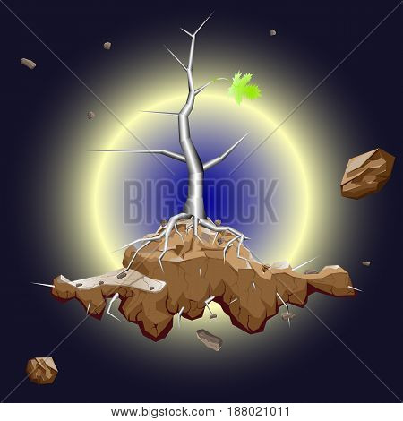 New life, rebirth after anthropogenic catastrophe, vector