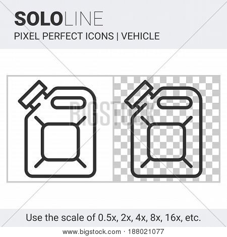 Pixel Perfect Solo Line Fuel Canister Icon On White And Transparent Background For Responsive Web Or
