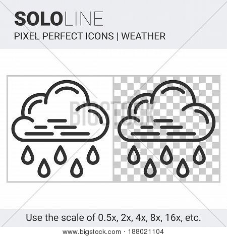 Pixel Perfect Heavy Rain Icon In Thin Line Style On White And Transparent Background
