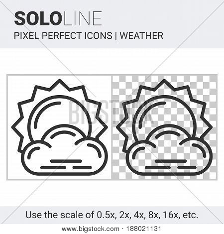Pixel Perfect Little Cloudy Icon In Thin Line Style On White And Transparent Background