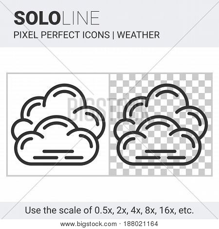 Pixel Perfect Overcast Icon In Thin Line Style On White And Transparent Background