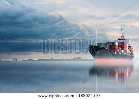 ship with container on storm sky import export .