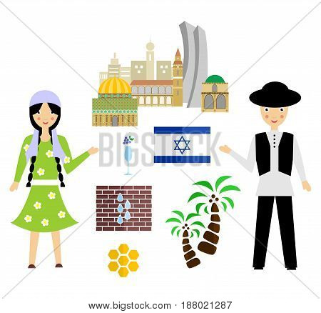 set in the style of a flat design on the theme of israel.