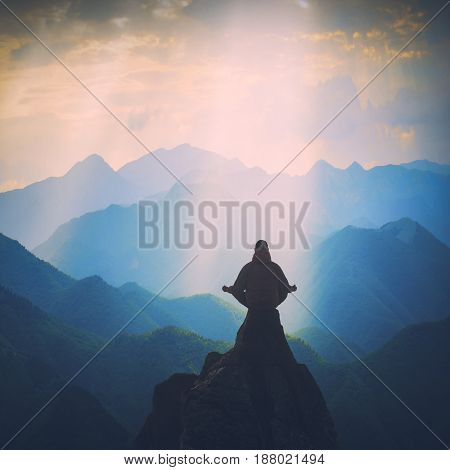 Meditation In A High Mountain Valley. Instagram Stylization