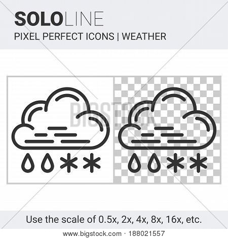 Pixel Perfect Sleet Icon In Thin Line Style On White And Transparent Background