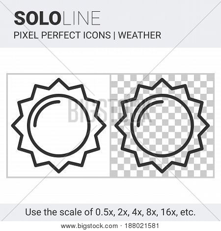 Pixel Perfect Sun Icon In Thin Line Style On White And Transparent Background