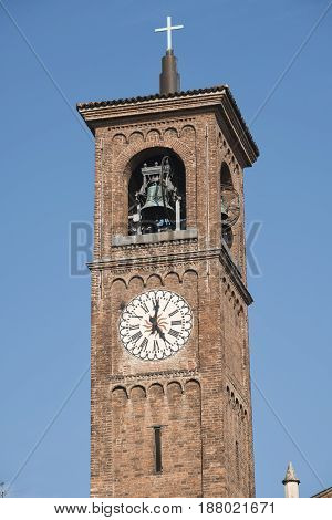 Milan (Lombardy Italy): belfry of the Sant'Eufemia church built from the 16th century in neo-Romanesque and neo-Gothic style