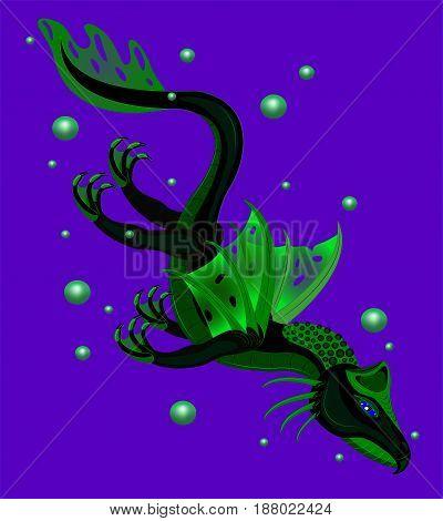 Green dragon in sea depths.  vector. Illustration