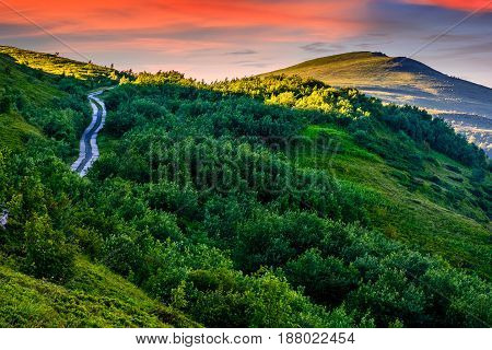 Empty asphalt countryside road in mountains. Serene springtime sunrise with pink light. Blue sky with some clounds